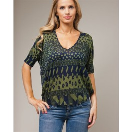 Devsters Green Print Blouse