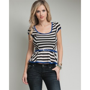 Devsters Smooth Look Belted Striped Top