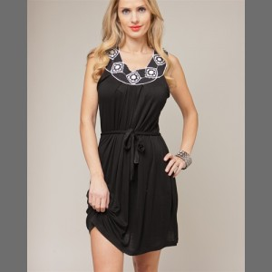 Devsters Black Crocheted Wrap Dress