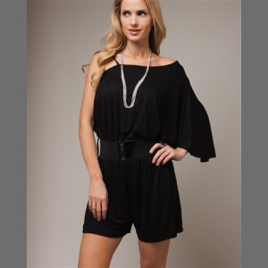 Devsters One Shoulder Belted Black Romper