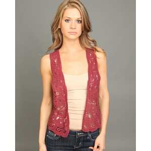 Devsters Open Front Crochet Vest