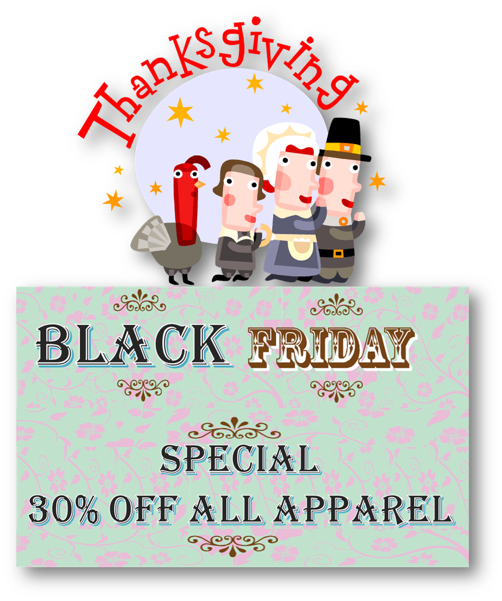 Black Friday Special - 30% OFF ALL Apparel - No Coupon Required